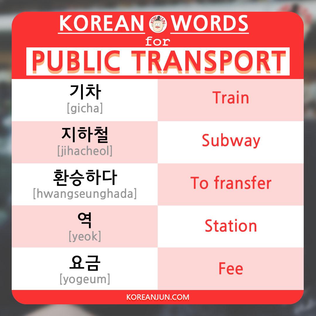Korean Words for Public Transport 1-1